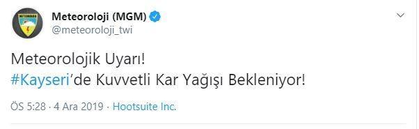 Meteoroloji Genel Müdürlüğü, Kayseri'ye yoğun kar yağışı uyarısı yaptı.