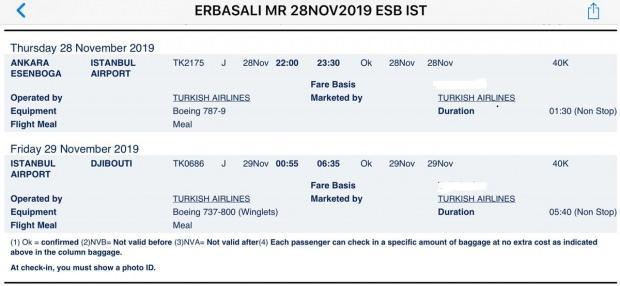 Diyanet İşleri Başkanı Erbaş'ın THY'ye ait TK2175 sayılı sefer uçağıyla yaptığı yolculuğa ait bilet fotoğraf