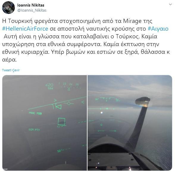 Yunan pilot Loannis Nikitas'ın paylaşımı