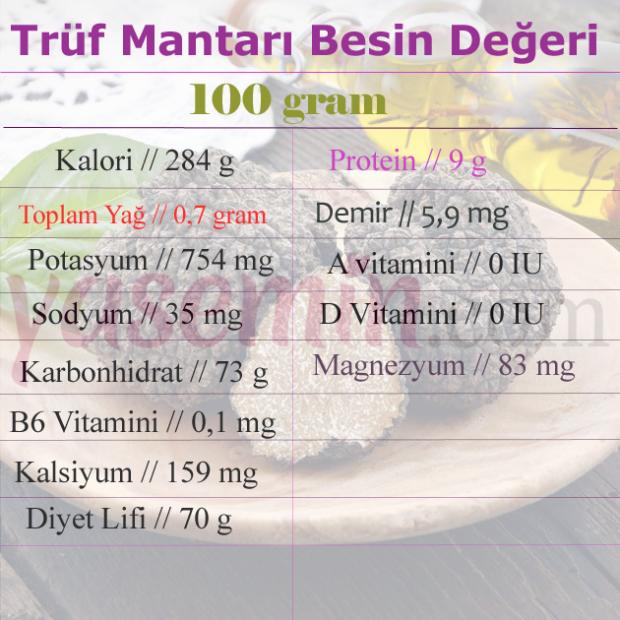 trüf mantarı besin değerleri
