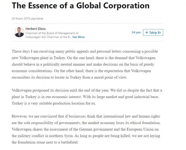 Volkswagen CEO'su Herbert Diess'in Türkiye hakkında yaptığı paylaşım