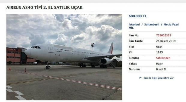 Sahibinden sitesinde satılan uçağın fiyatı 600 bin TL