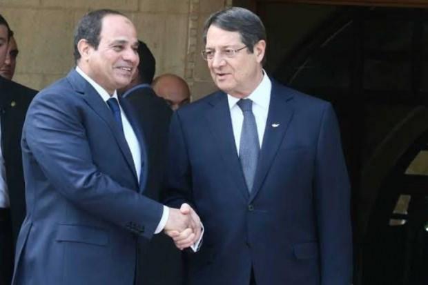 Mısır'ın Cumhurbaşkanı Sisi ve Rum Yönetimi Başkanı Nikos Anastasiadis