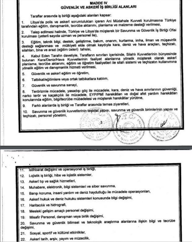 Libya ile imzalanan askeri işbirliği muhtırası.