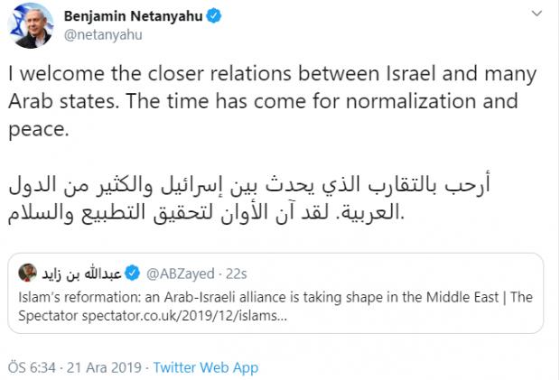 BAE Prensi'nin paylaşımı İsrail Başbakanı Netanyahu tarafından RT edildi.