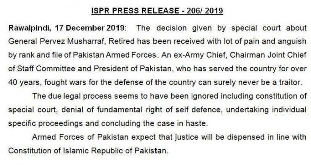 Pakistan ordusunun açıklaması.