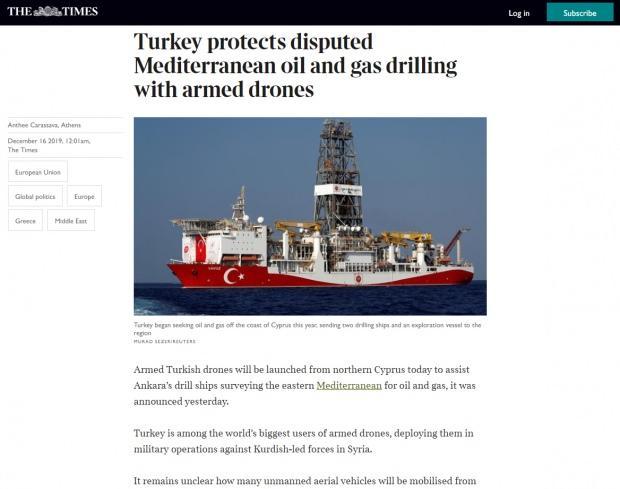 The Times haberin kapağında, Yavuz sondaj gemisini gösteren bir görsel kullandı.