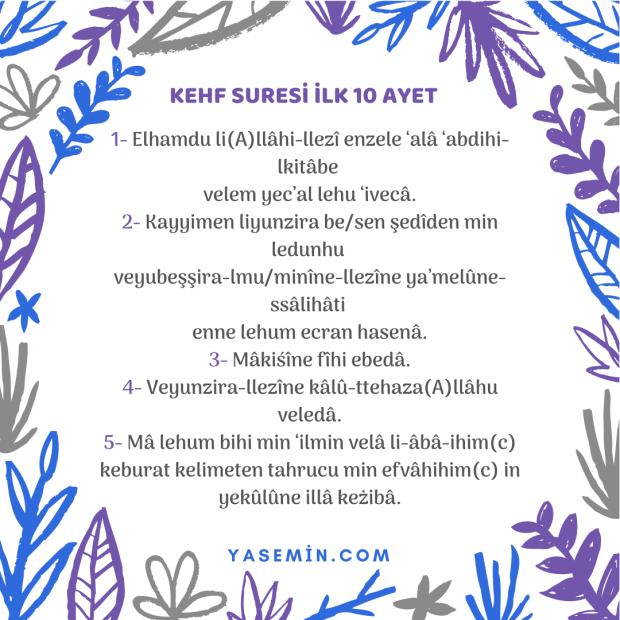 Kehf Suresi ilk 5 ayeti türkçe okunuşu