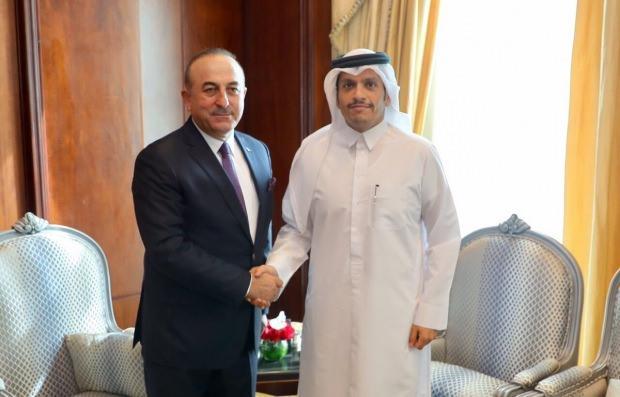 Dışişleri Bakanı Mevlüt Çavuşoğlu ve Katar Dışişleri Bakanı Muhammed bin Abdurrahman el Sani...