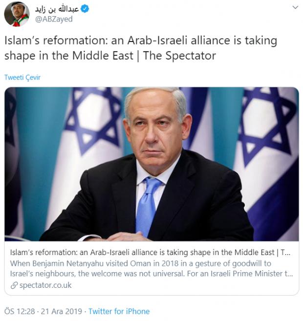 BAE Prensi Abdullah bin Zayed'in paylaşımı