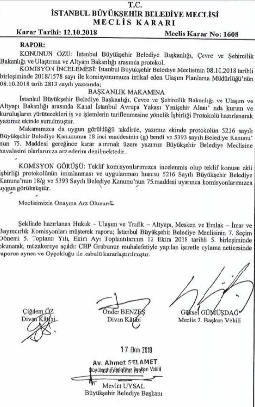 İBB Meclisinin Kanal İstanbul kararı.