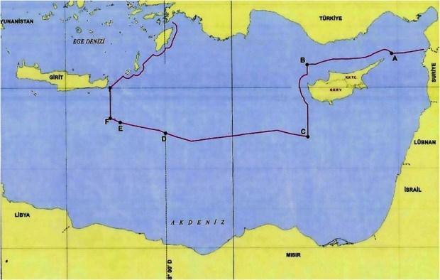 Doğu Akdeniz'deki münhasır ekonomik bölge (MEB) sınırlarını gösteren yeni harita