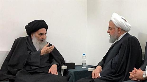 Ayetullah Ali es-Sistani ve Hasan Ruhani