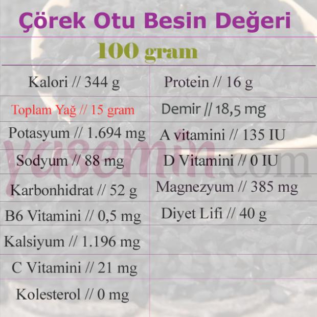 çörek otu besin değeri