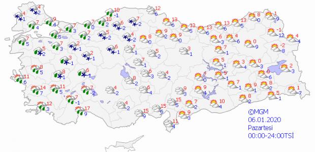 Paazartesi günü havalar nasıl olacak? Haritalı hava durumu
