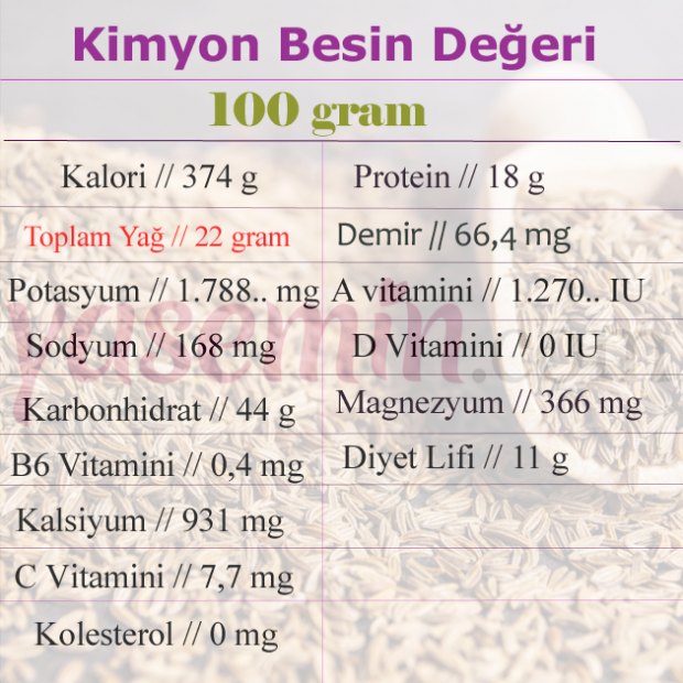 kimyon besin değeri