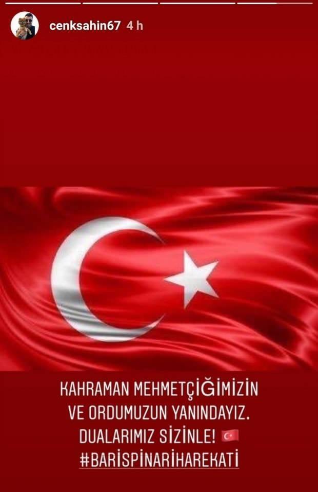 Enver Cenk Şahin'in Mehmetçik'e destek paylaşımı