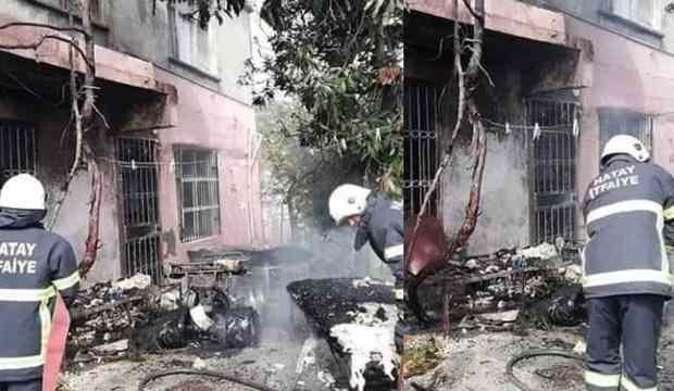 Samandağ'da çıkan yangında evdeki eşyalar kullanılamaz hale geldi