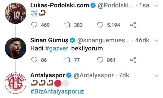 Antalyaspor'a imza atan Sinan Gümüş ve Antalyaspor'un paylaşımları