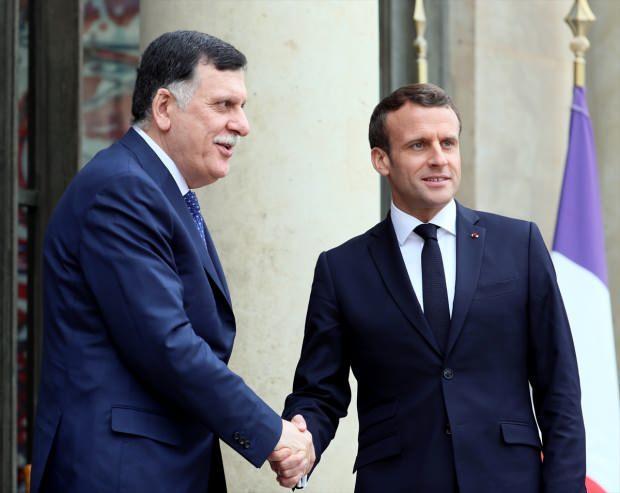 Libya Ulusal Mutabakat Hükümeti (UMH) Başkanlık Konseyi Başkanı Fayiz es-Serrac ve Fransa Cumhurbaşkanı Emmanuel Macron
