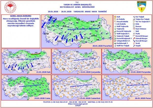 Son dakika - İl il hava durumu - 20 Ocak - 26 Ocak tarihleri arası il il hava durumu