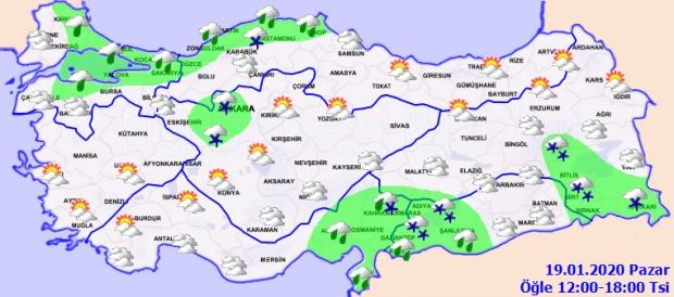 Son dakika - Meteoroloji 19 Ocak Pazar il il hava durumu tahminini açıkladı