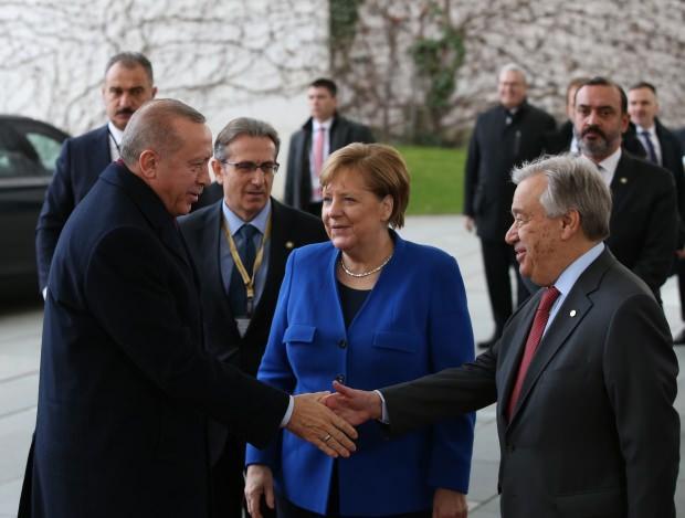 Cumhurbaşkanı Recep Tayyip Erdoğan, Angela Merkel, Birleşmiş Milletler Genel Sekreteri Antonio Guterres