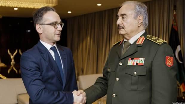 Almanya Dışişleri Bakanı Heiko Maas ve darbeci Halif Hafter