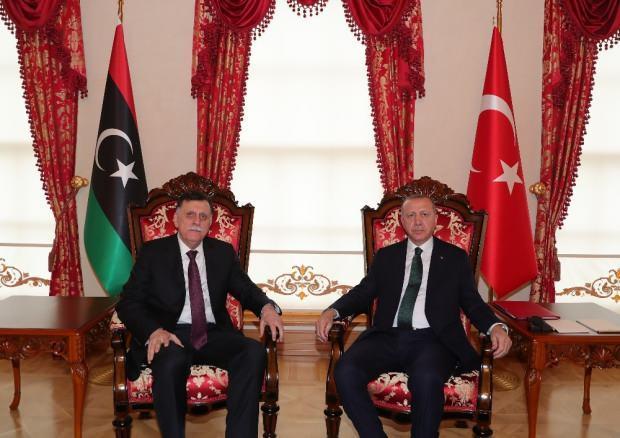 Libya Ulusal Mutabakat Hükümeti (UMH) Başkanlık Konseyi Başkanı Fayiz es-Serrac ve Cumhurbaşkanı Erdoğan