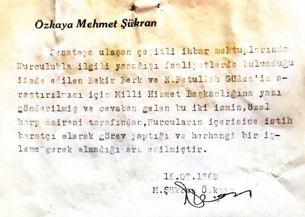 Milli Birlik Komitesi Üyesi Şükran Özkaya'nın arşivinden çıkan belgede Gülen'in 'Özel Harp Dairesi' elemanı olduğu belirtiliyor.