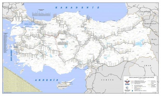 Türkiye Demiryolları haritası
