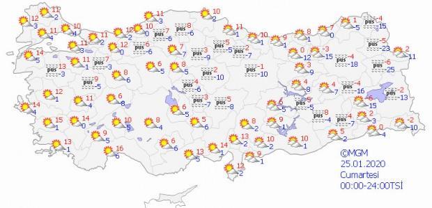 Son dakika - 25 Ocak Cumartesi il il hava durumu - Güncel hava durumu