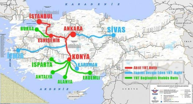 Yüksek Hızlı Tren güzergah haritası -2019 güncel