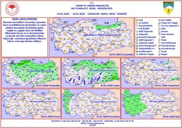 Son dakika - İl il hava durumu - 22 Ocak - 28 Ocak tarihleri arası il il hava durumu - Güncel hava durumu- Bugün hava nasıl olacak?