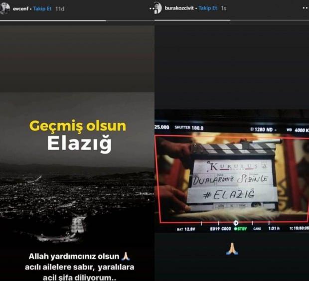 Fahriye Evcen ve Burak Özçivitten elazığ deprem paylaşımı