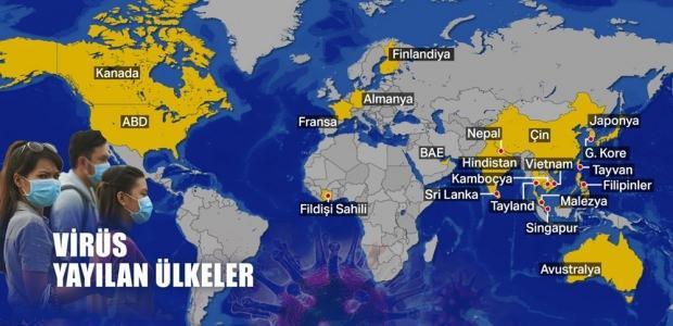 Virüsün yayıldığı ülkeler...