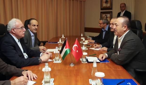 Bakan Çavuşoğlu Filistinli mevkidaşı Riyad el-Maliki ile görüştü