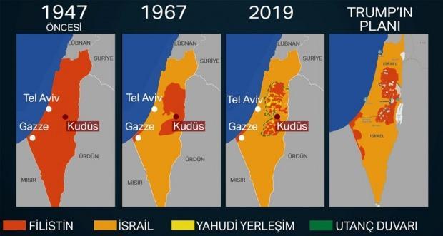 Filistin'in zaman içinde nasıl işgal edildiği görülüyor... Harita kaynak: NTV