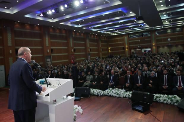 Son dakika   Cumhurbaşkanı Erdoğan'ın konuşmasını yaptığı anlardan bir kare