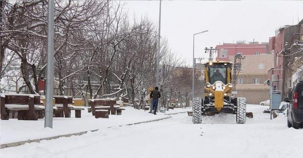 Mardin'in Mazıdağı ilçesinde etkili olan kar yağışı ve tipi hayatı olumsuz etkiledi.