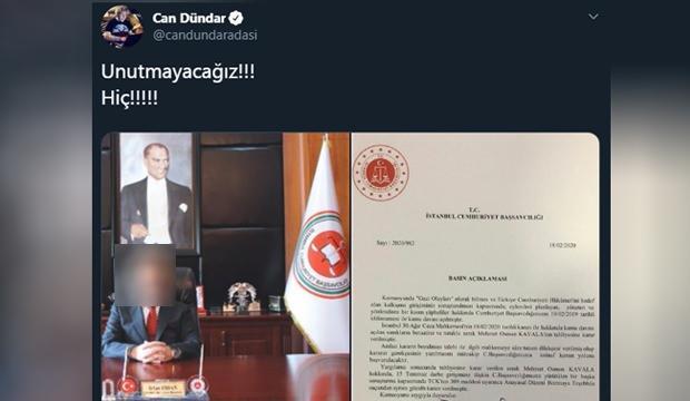 Firari vatan haini Can Dündar sosyal medya üzerinden Türkiye'nin savcılarını hedef gösterdi.