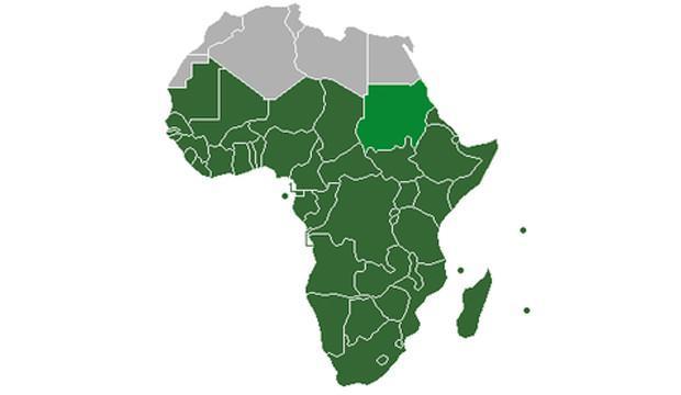 Sahra Altı Afrika ülkeleri, haritada yeşil olarak işaretlenmiştir...