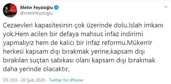 Metin Feyzioğlu'nun sosyal medya hesabından yaptığı açıklama.