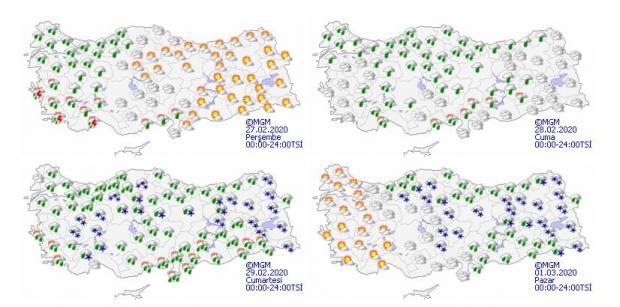 Önümüzdeki 4 gün için yurt genelinde beklenen hava durumu.