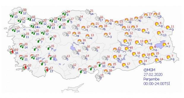 27 Şubat Perşembe günü için beklenen hava durumu.