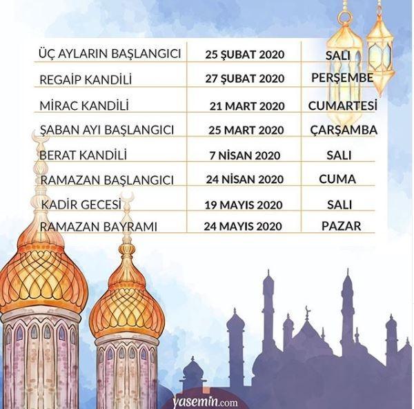 Dini günler takvimi 2020