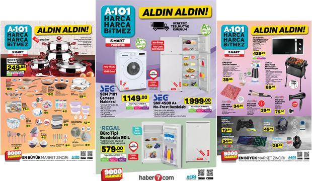 5 Mart A101 aktüel ürünler kataloğu! Beyaz eşya, züccaciye, elekrikli ev aletlerinde..