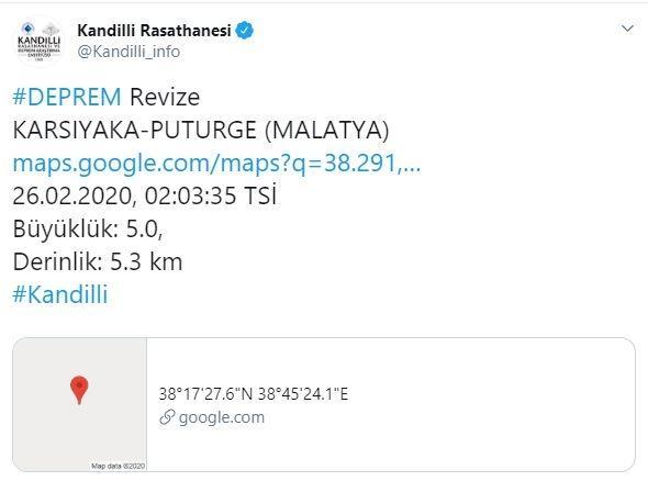 Malatya Pütürge'de 5 şiddetinde deprem