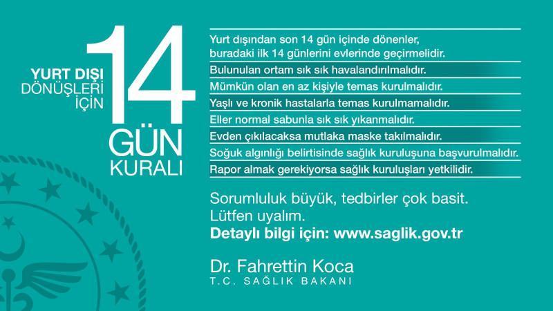 Koronavirüse karşı Sağlık Bakanlığı'nın açıkladığı 14 gün kuralı.