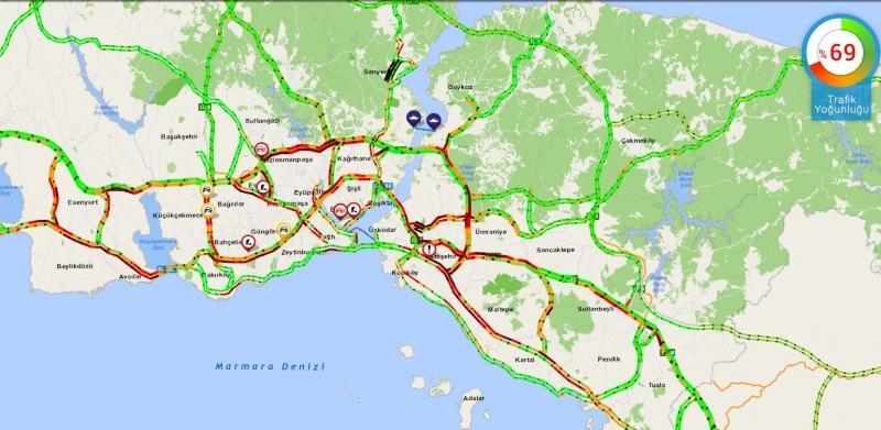 Saat 8.50 - İstanbul trafiğinde yoğunluk durumu.